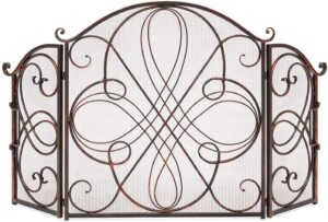Best Choice Products 3-Panel 55x33in Solid Wrought Iron See-Through Metal Fireplace Screen